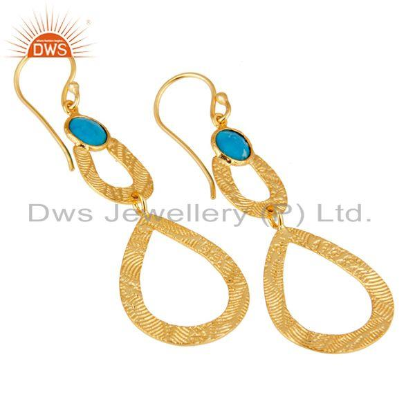 Exporter 18k Gold Plated Sterling Silver Handmade Textured Design Turquoise Drops Earring