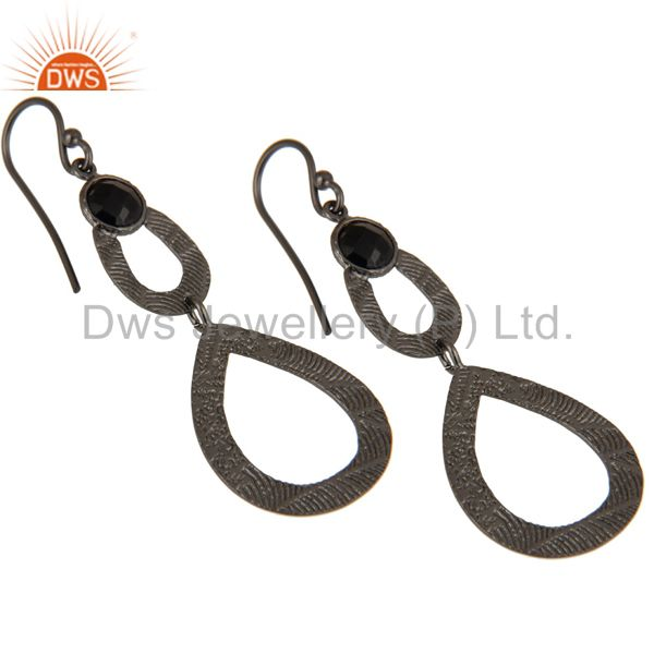 Exporter Black Oxidized Sterling Silver Handmade Textured Design Turquoise Drops Earring
