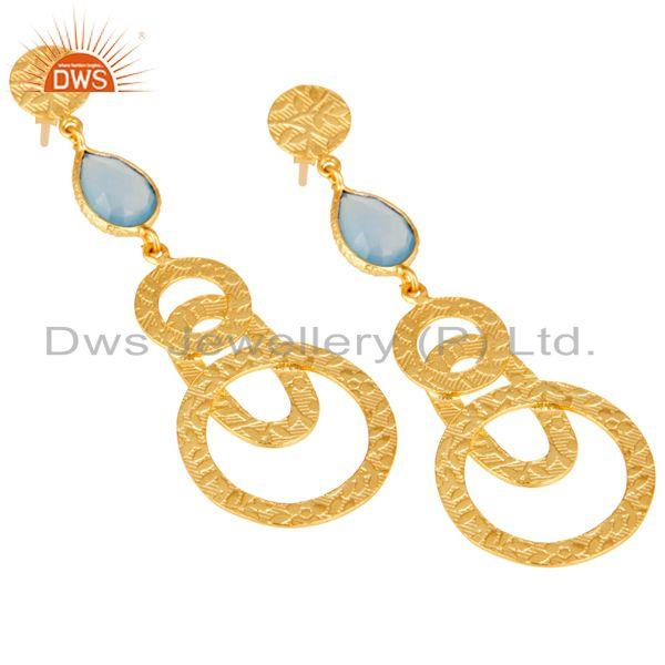 Exporter 22k Gold Plated Sterling Silver Textured Bezel Set Dyed Chalcedony Drop Earrings