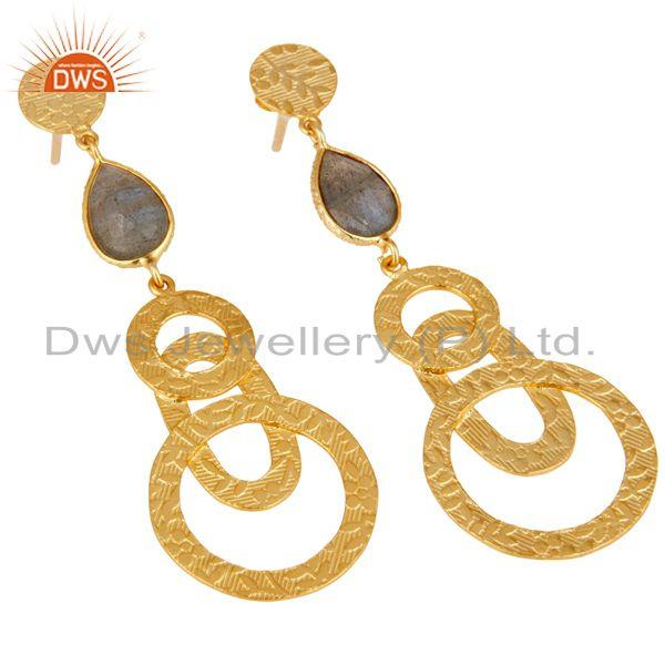 Exporter 22k Gold Plated Sterling Silver Textured Bezel Set Labradorite Drops Earrings