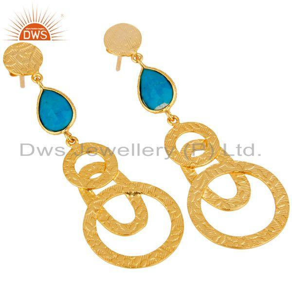 Exporter 22k Gold Plated Sterling Silver Textured Bezel Set Turquoise Drops Earrings