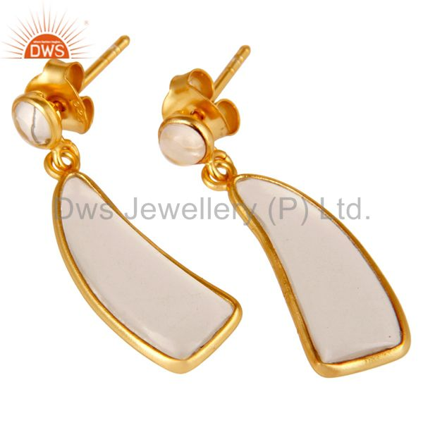 Exporter 22K Yellow Gold Plated 925 Sterling Silver Handmade Crystal Quartz Drop Earrings