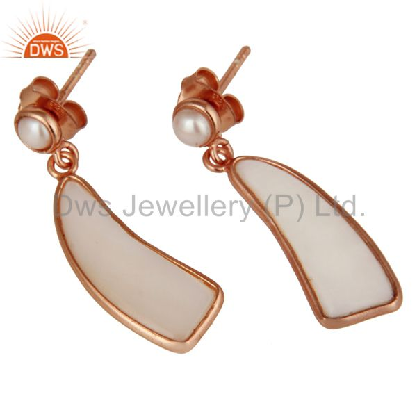 Exporter 22K Rose Gold Plated Sterling Silver Mother Of Pearl & Pearl Drops Earrings