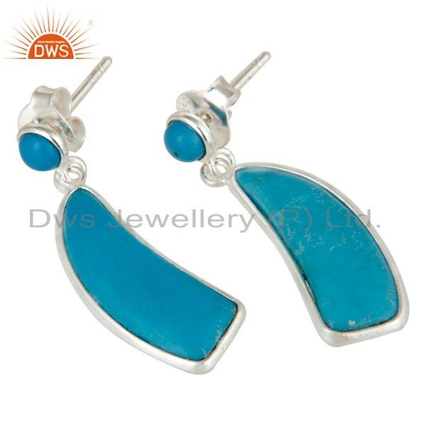 Exporter Solid 925 Sterling Silver Cultured Turquoise Gemstone Drops Earrings Jewellery