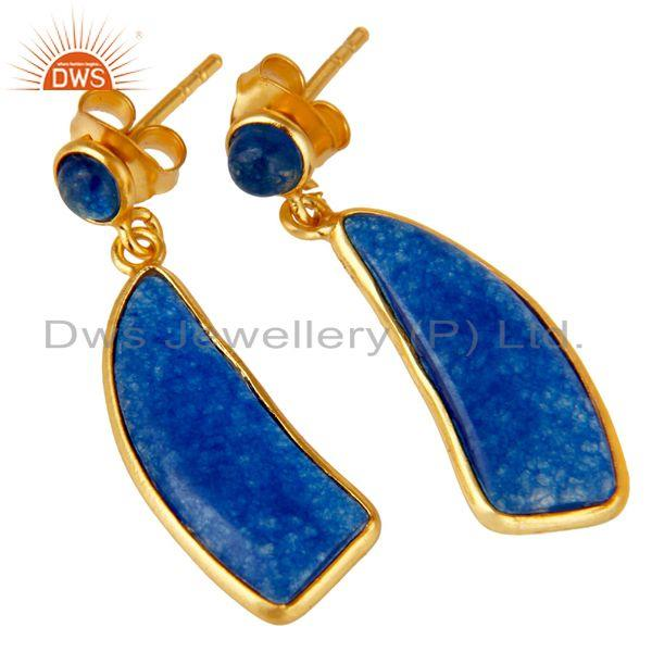 Exporter 22K Gold Plated 925 Sterling Silver Natural Aventurine Gemstone Drops Earrings