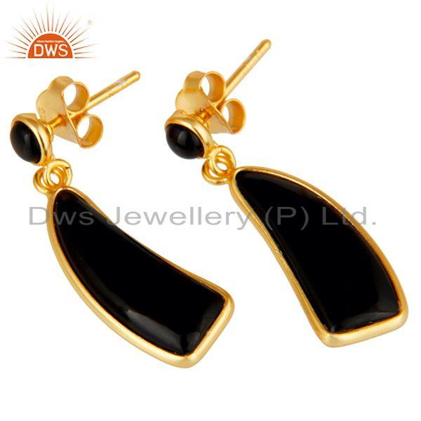 Exporter 22K Gold Plated Sterling Silver Black Onyx Gemstone Drops Earrings Jewellery