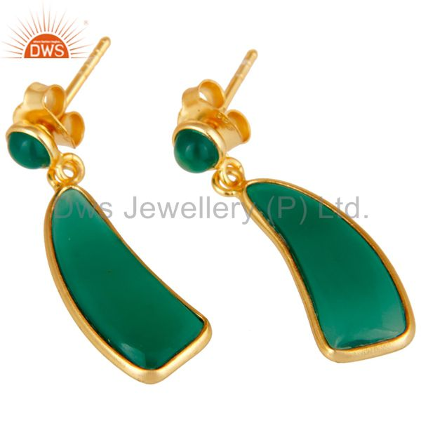 Exporter 22K Gold Plated Sterling Silver Green Onyx Gemstone Drops Earrings Jewellery