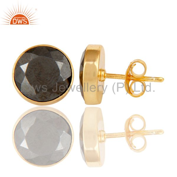 Exporter 18K Gold Plated 925 Sterling Silver Round Hematite Gemstone Studs Earrings
