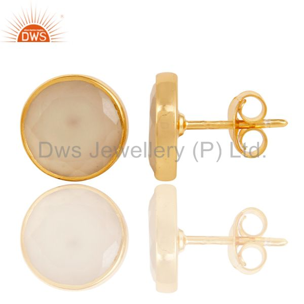 Exporter 18K Gold Plated 925 Sterling Silver Natural Chalcedony Gemstone Studs Earrings