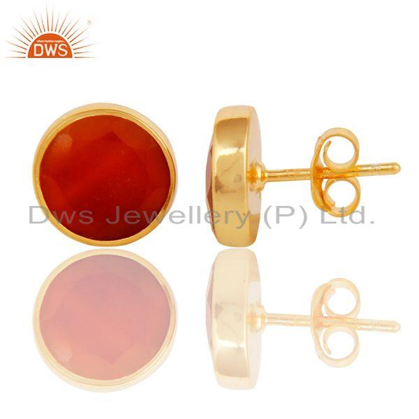 Exporter 18K Yellow Gold Plated 925 Sterling Silver Round Red Onyx Gemstone Stud Earrings