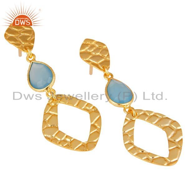 Exporter 18K Gold Plated Sterling Silver Handmade Art Design Dyed Chalcedony Drop Earring