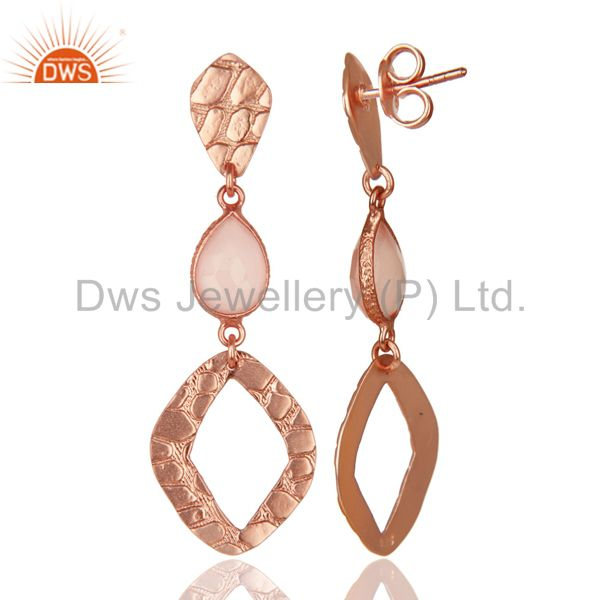 Exporter 18K Rose Gold Plated Sterling Silver Dyed Chalcedony Bezel Set Dangle Earrings