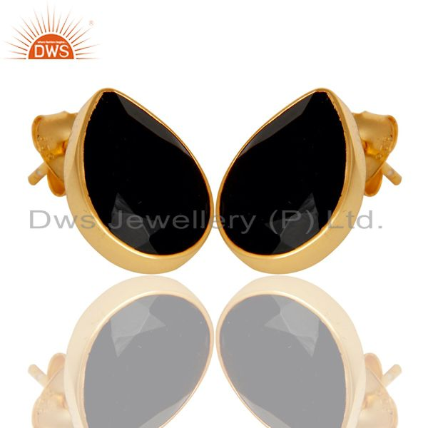 Exporter 18K Yellow Gold Plated 925 Sterling Silver Black Onyx Studs Earrings