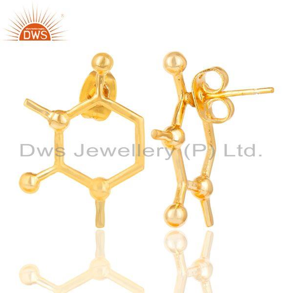 Exporter 14K Yellow Gold Plated 925 Sterling Silver Art Deco Fashion Studs Earrings