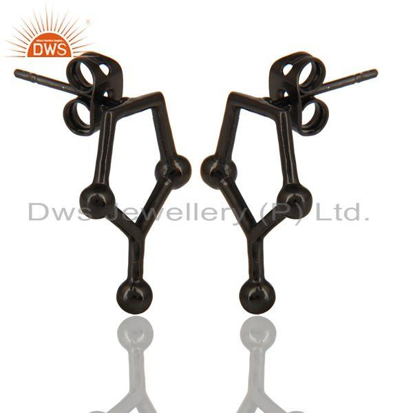 Exporter Black Oxidized 925 Sterling Silver Art Deco Spacing Fashion Studs Earrings