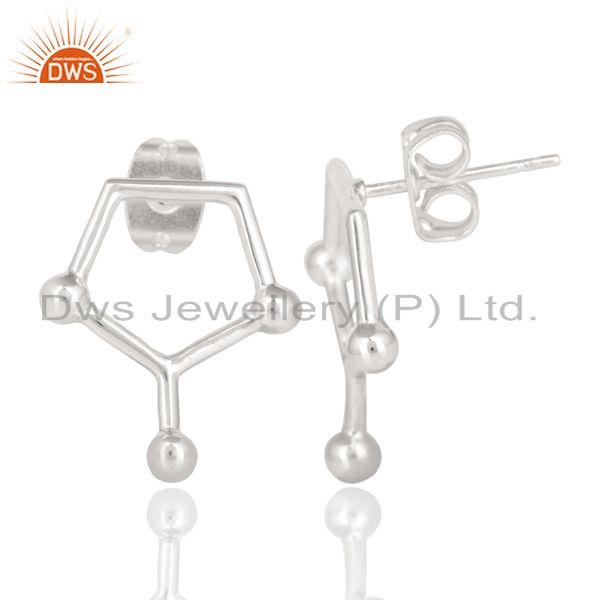 Exporter Handmade Solid 925 Sterling Silver Art Deco Spacing Fashion Studs Earrings