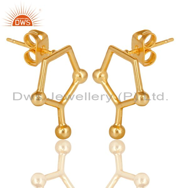 Exporter 14K Gold Plated 925 Sterling Silver Art Deco Spacing Fashion Studs Earrings