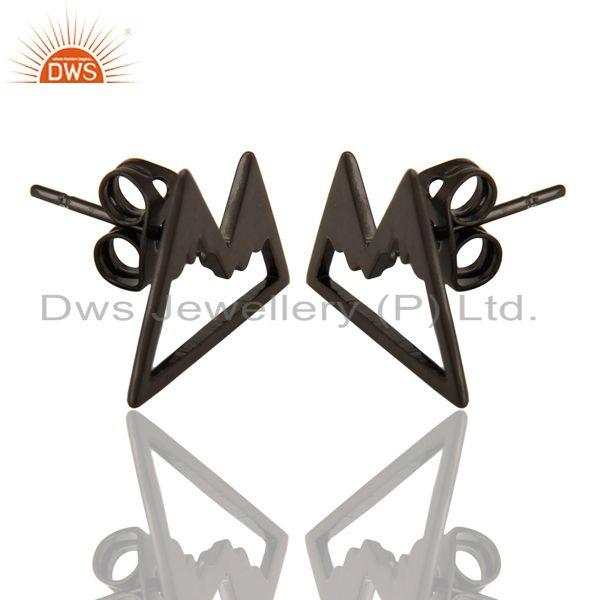 Exporter Black Oxidized 925 Sterling Silver Art Deco Studs Fashion Earrings Jewelry