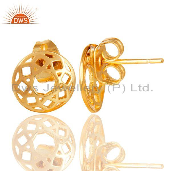 Exporter 14K Yellow Gold Plated Sterling Silver Handmade Art Round Design Studs Earrings