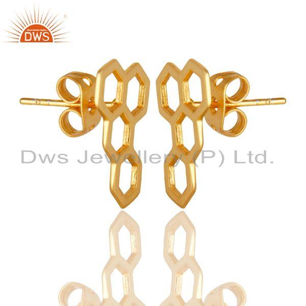 Exporter 14K Yellow Gold Plated Sterling Silver Handmade Spacing Art Deco Studs Earrings