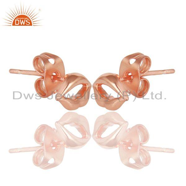 Exporter 14K Rose Gold Plated 925 Sterling Silver Handmade Art Lips Design Studs Earrings
