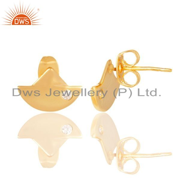 Exporter 14K Gold Plated 925 Sterling Silver Handmade White Zirconia Studs Earrings