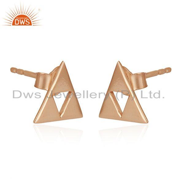 Exporter 14K Rose Gold Plated Sterling Silver Handmade Trillion Cut Style Studs Earrings