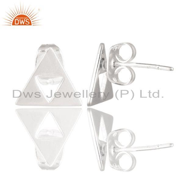 Exporter Solid 925 Sterling Silver Handmade Trillion Cut Style Studs Earrings