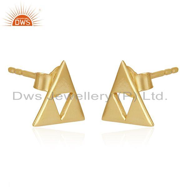 Exporter 14K Gold Plated Sterling Silver Handmade Art Trillion Cut Style Studs Earrings
