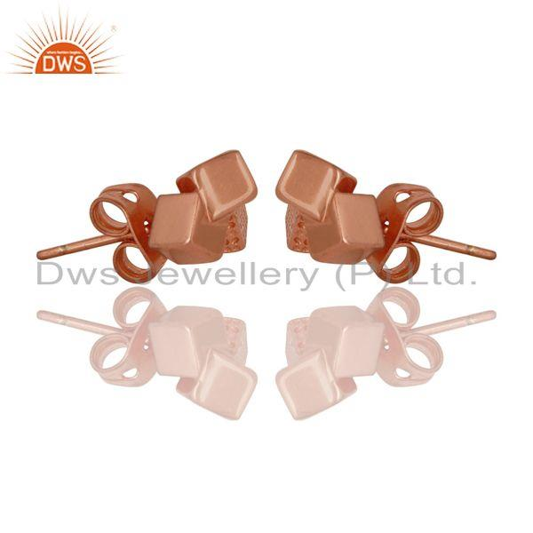Exporter 14K Rose Gold Plated Sterling Silver Handmade Art Little Studs Fashion Earrings