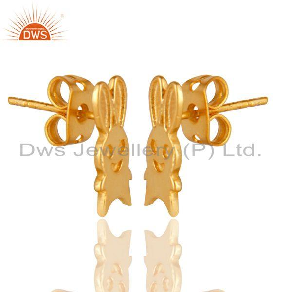 Exporter 14K Yellow Gold Plated Sterling Silver Handmade Art Rabbit Design Studs Earrings