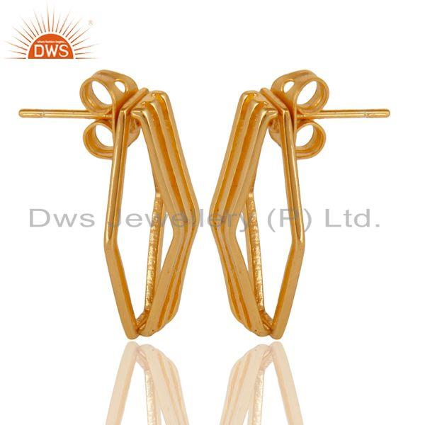 Exporter 14K Yellow Gold Plated 925 Sterling Silver Handmade Flat Style Studs Earrings