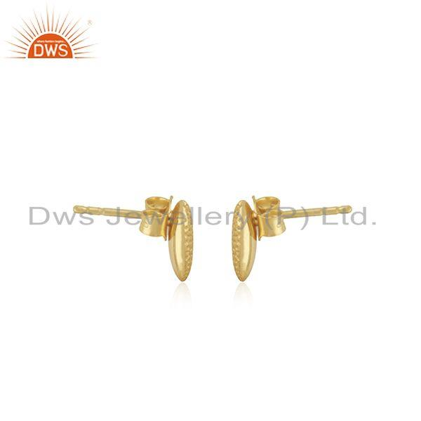 Exporter 14K Yellow Gold Plated 925 Sterling Silver Handmade Rough Design Studs Earrings