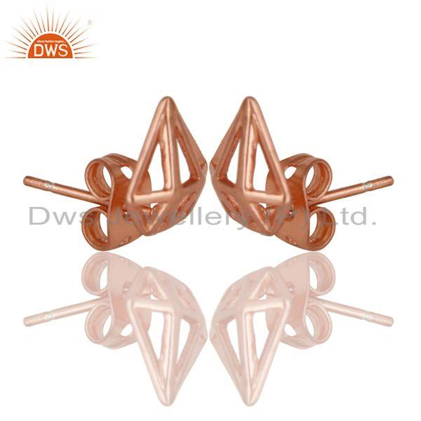 Exporter 14K Rose Gold Plated Sterling Silver Handmade Art Classic Design Studs Earring