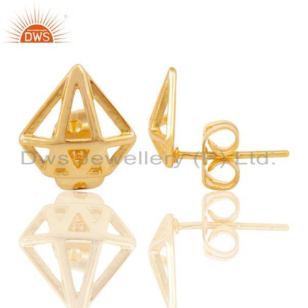 Exporter 14K Yellow Gold Plated Sterling Silver Handmade Art Classic Design Studs Earring