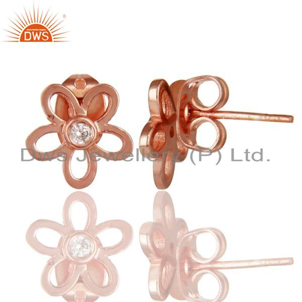Exporter 14K Rose Gold Plated Sterling Silver Flower Design White Zirconia Studs Earrings