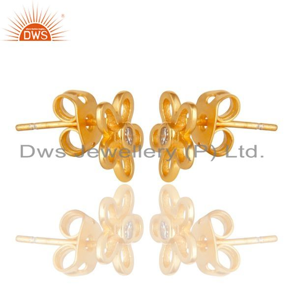 Exporter 14K Gold Plated Sterling Silver Flower Design White Zirconia Studs Earrings