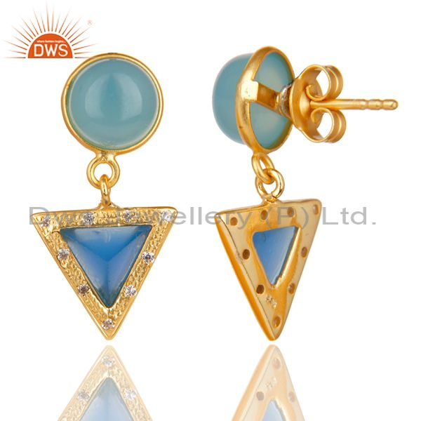 Exporter 14K Gold Plated Sterling Silver Dyed Chalcedony & White Zircon Drops Earrings