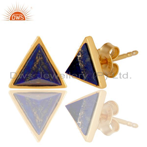 Exporter 14K Gold Plated 925 Sterling Silver Handmade Lapis Pyramid Style Studs Earrings