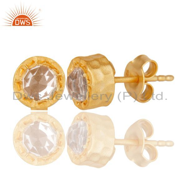Exporter 14K Yellow Gold Plated 925 Sterling Silver Crystal Quartz Studs Earrings