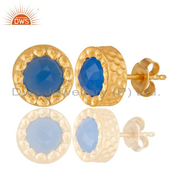 Exporter 14K Gold Plated 925 Sterling Silver Handmade Dyed Blue Chalcedony Stud Earrings