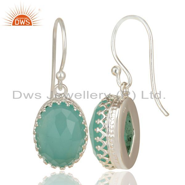 Exporter Handmade Solid 925 Sterling Silver Dyed Chalcedony Prong Set Drops Earrings
