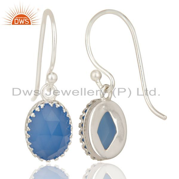 Exporter Handmade Solid 925 Sterling Silver Dyed Blue Chalcedony Drops Earrings Jewelry