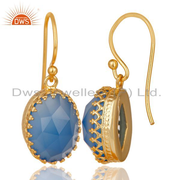 Exporter 14K Yellow Gold Plated 925 Sterling Silver Dyed Blue Chalcedony Drops Earrings