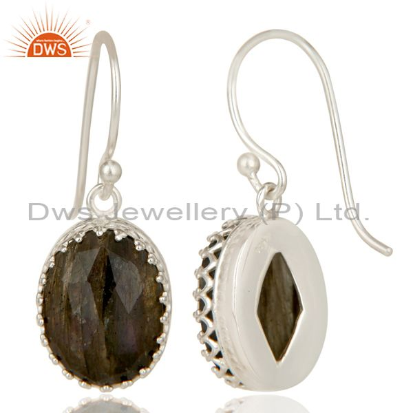 Exporter Handmade Solid 925 Sterling Silver Faceted Labradorite Drops Earrings Jewelry