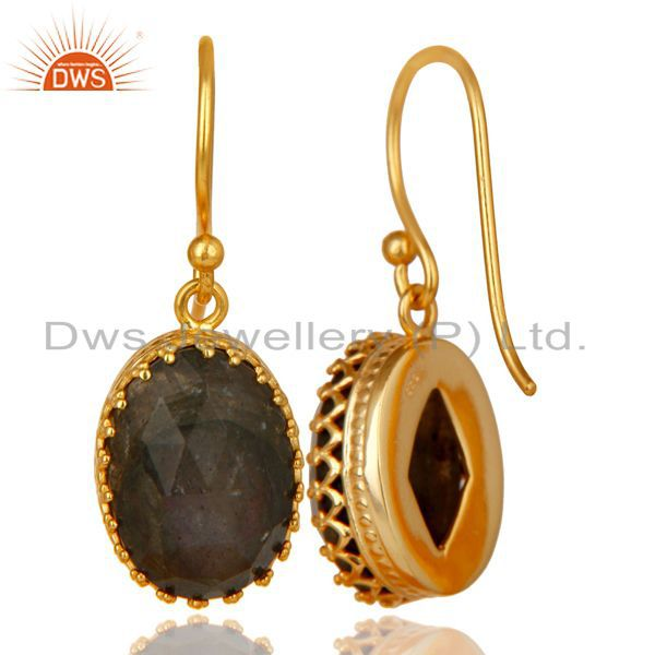 Exporter 14K Yellow Gold Plated 925 Sterling Silver Faceted Labradorite Drops Earrings