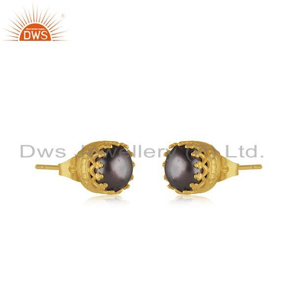 Exporter Crown Design Brass Gold Plated Pearl Fashion Stud Earrings Wholesaler Jaipur