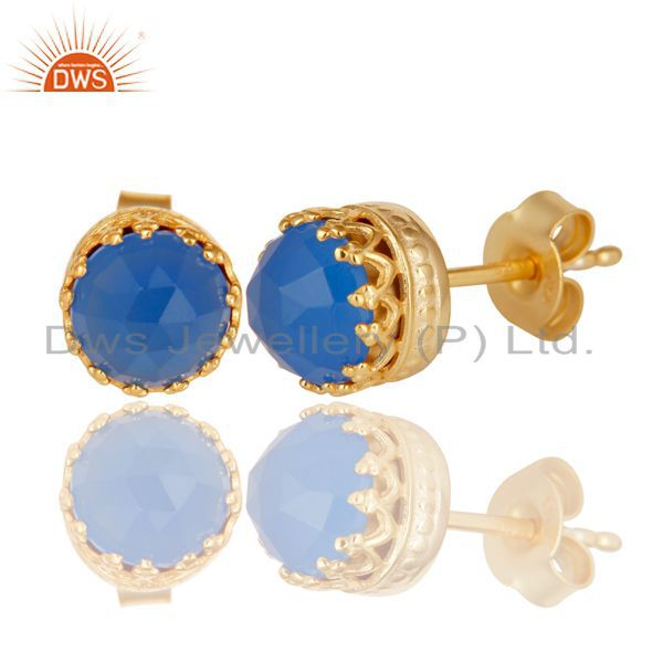Exporter 14K Yellow Gold Plated 925 Sterling Silver Dyed Blue Chalcedony Studs Earrings