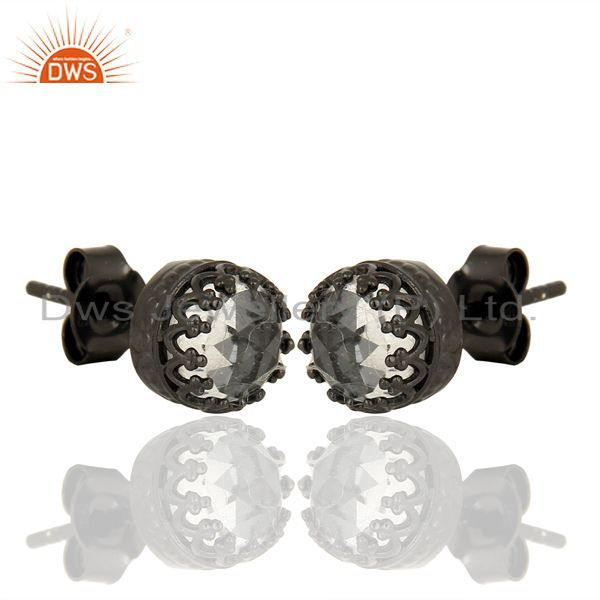 Exporter Crystal Quartz Studs Black Rhodium 925 Sterling Silver Mini Earrings Jewelry