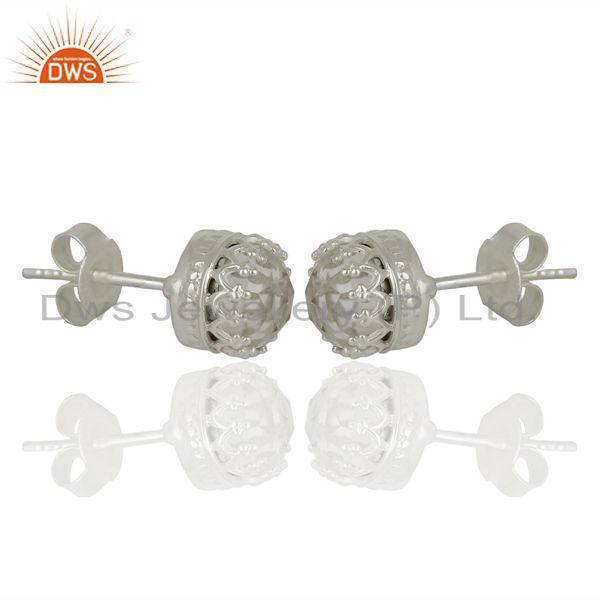 Exporter Crystal Quartz Studs 925 Sterling Silver Mini Earrings Gemstone Jewelry